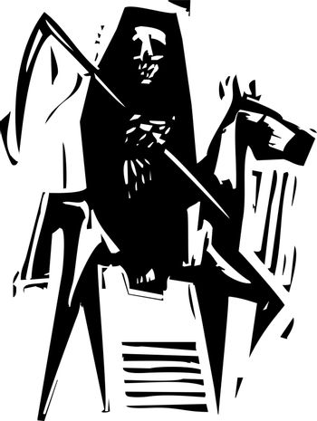 Woodcut expressionist style image of Death on a horse