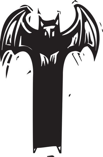 Woodcut expressionist style devil or demon with wings
