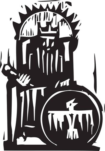 Woodcut expressionist style image of a king on a throne