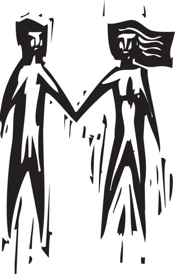 Woodcut expressionist style of a man and a woman holding hands.