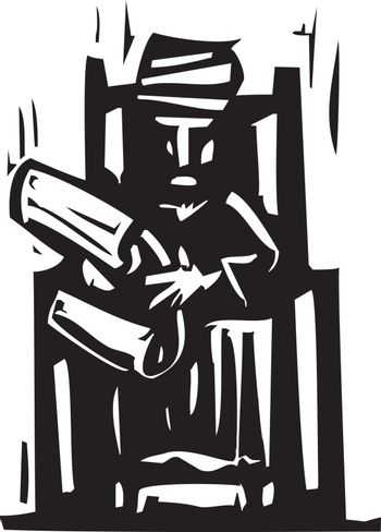 Woodcut expressionist style image of man in a turban reading a scroll.