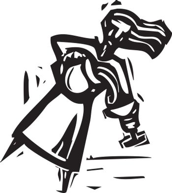 Woodcut expressionist style image of a woman pouring water from a pitcher into a goblet.