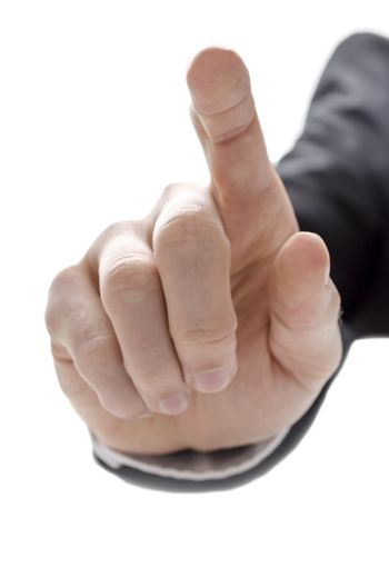 Hand of a businessman with pointed finger