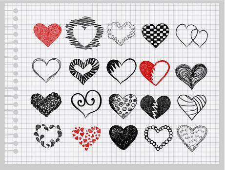 hand-drawn hearts