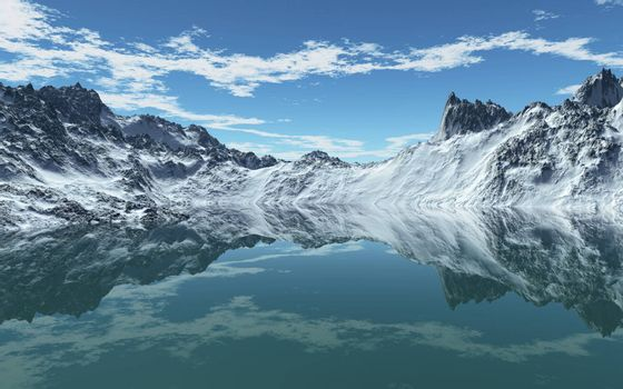 This image shows a cold mountain sea