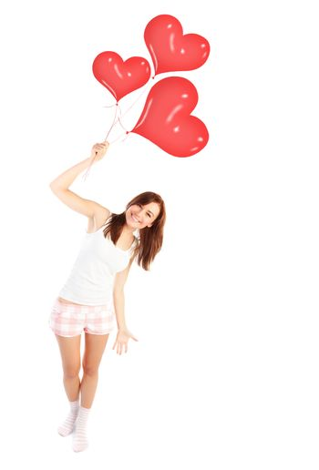 Happy female with balloons