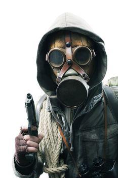 Post apocalyptic survivor in gas mask