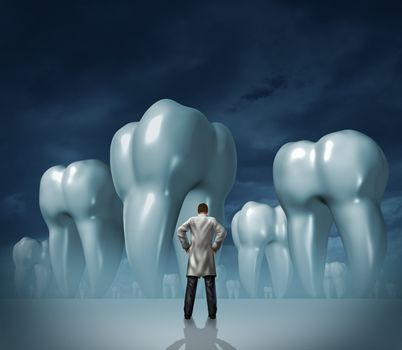 Dentist and dental care medical tooth health symbol of oral hygiene with a professional man in a white lab coat facing giant molar teeth on a dark foggy background.
