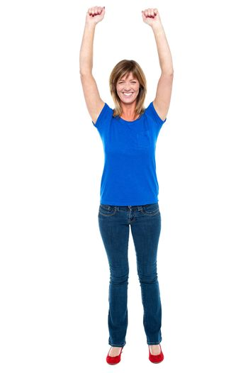 Happy and cheerful lady in joyous mood