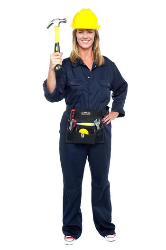 Smiling constrution worker displaying hammer