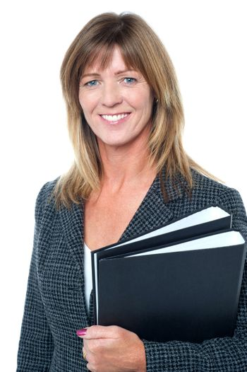 Corporate executive holding important documents