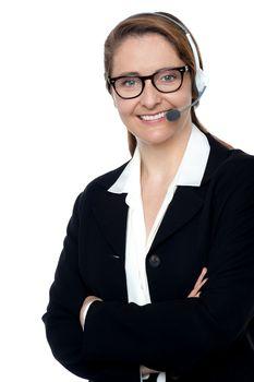 Customer support executive posing confidently