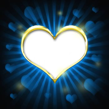 Valenties Day Card with a big golden heart and many smaller hearts on a blue background