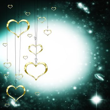 Valenties Day Card with golden hearts on a starry dark glowing background