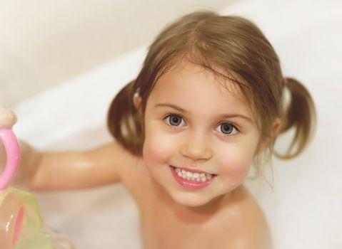 Little girl take bath