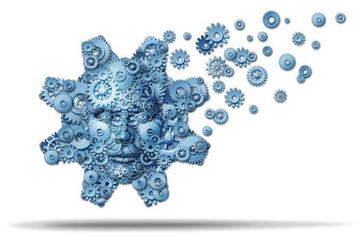 Business education and corporate training with gears and cogs shaped as a giant gear with a human face symbol spreading knowledge and teaching financial skills for career growth on a white background.
