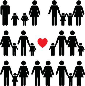 Family life icon set in black