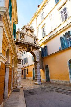 Narrow Street in the City of Rovinj, Croatia