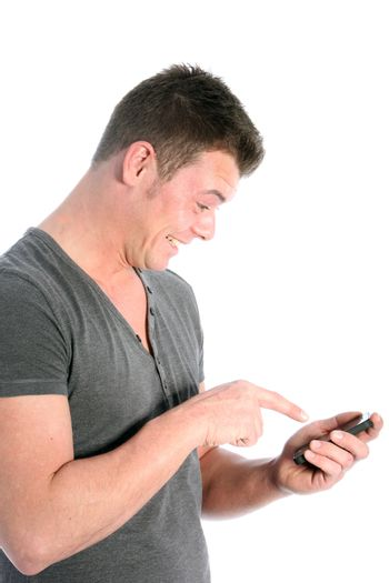 Man pointing at his smartphone in excitement