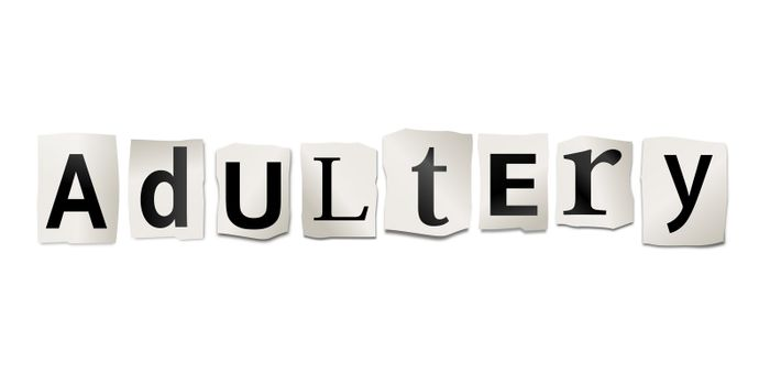 Illustration depicting cutout printed letters arranged to form the word adultery.