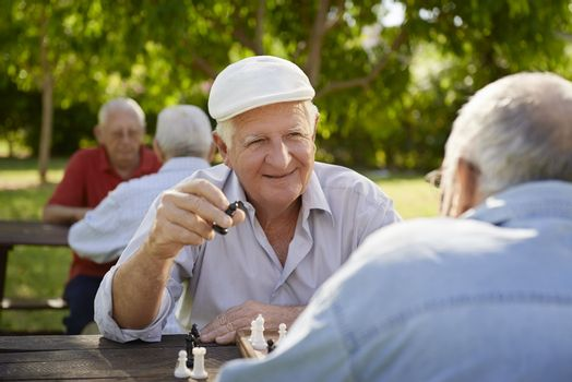 Active retired people, old friends and free time, two seniors having fun and playing chess game at park. Waist up
