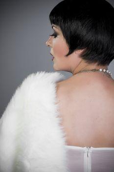 Vintage twenties woman wearing a flapper dress
