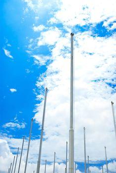 Row of flagpoles
