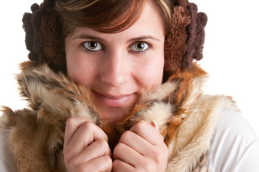 Cold Woman Snuggling in Warm Coat