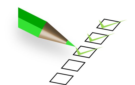 questionnaire with green pen