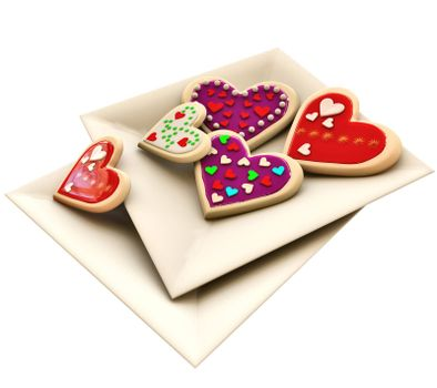 Allsorts individual heart-shaped butter cookies on the square plate for Valentine's Day