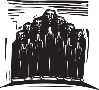 Woodcut expressionist style image of a religious choir.