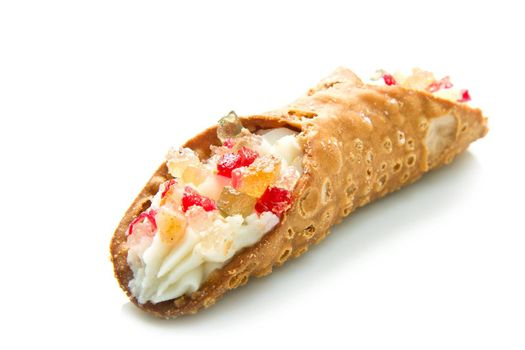 Sicilian cannoli with candied fruit