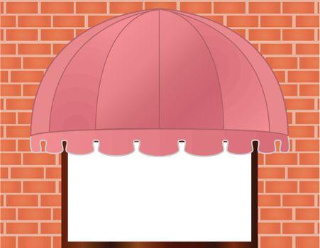 Storefront Awning in reddish pink