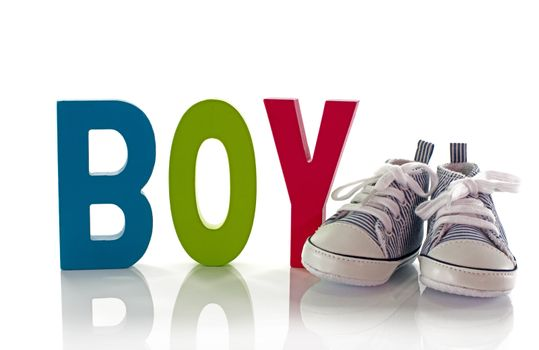 congratulations with a boy card with small sport shoes