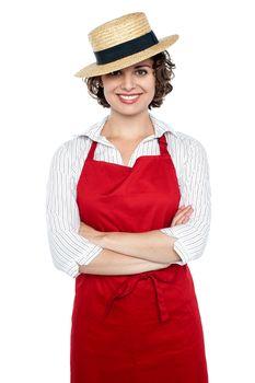 Elegant presentable baker woman standing