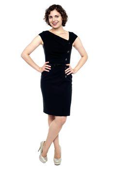 Beautiful young sensuality woman in black dress
