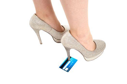 Woman stomping a credit card