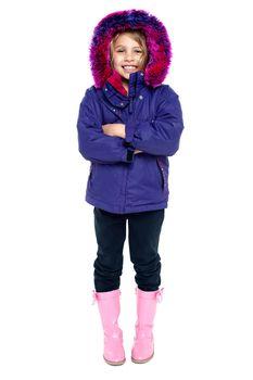 Sweet little girl in hooded jacket