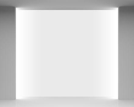 Empty white store interior with showcase