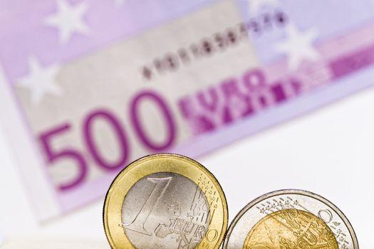 Euro coins, euro bill
