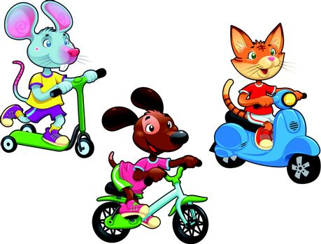 Animals on vehicles. Funny cartoon and vector isolated characters.