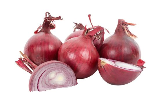 red onions full and peaces, isolated on white
