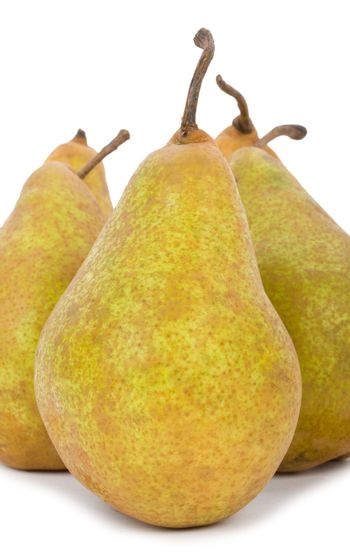 close-up ripe big pears, isolated on white
