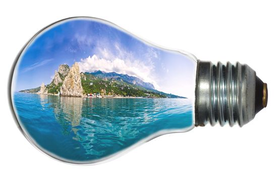 paradise island in light bulb, isolated on white