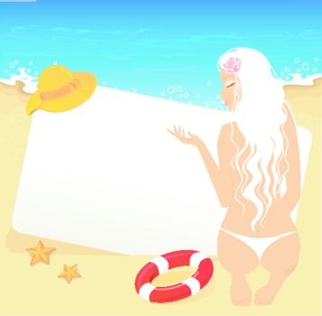 Vector illustration of Beauty woman on a beach