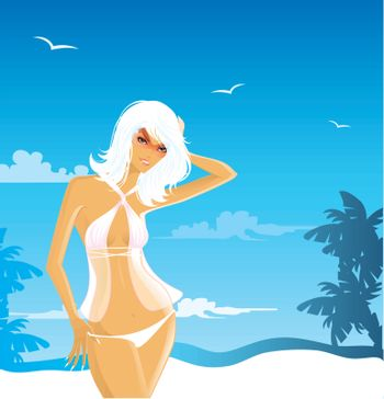 Vector illustration of Summer woman in swimsuit