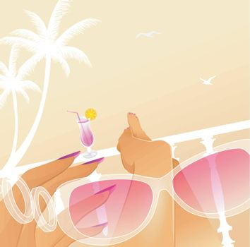 Vector illustration of Woman summer vacation