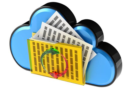 Cloud computing and storage internet security concept as is blue glossy cloud icon with folder and documents on white background