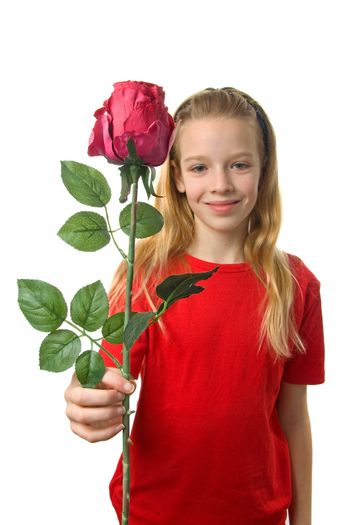Young blonde girl with silk red rose over white background