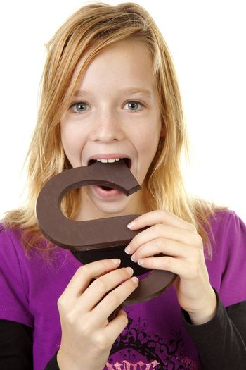 Girl with big chocolate letter for Sinterklaas, traditional in the netherlands, over white background
